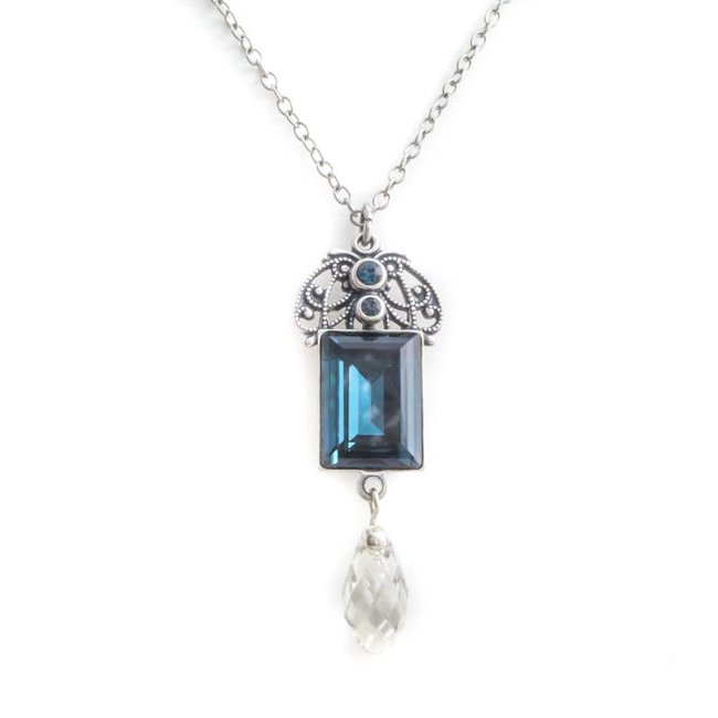 Krikor Montana blauw collier kristal art nouveau