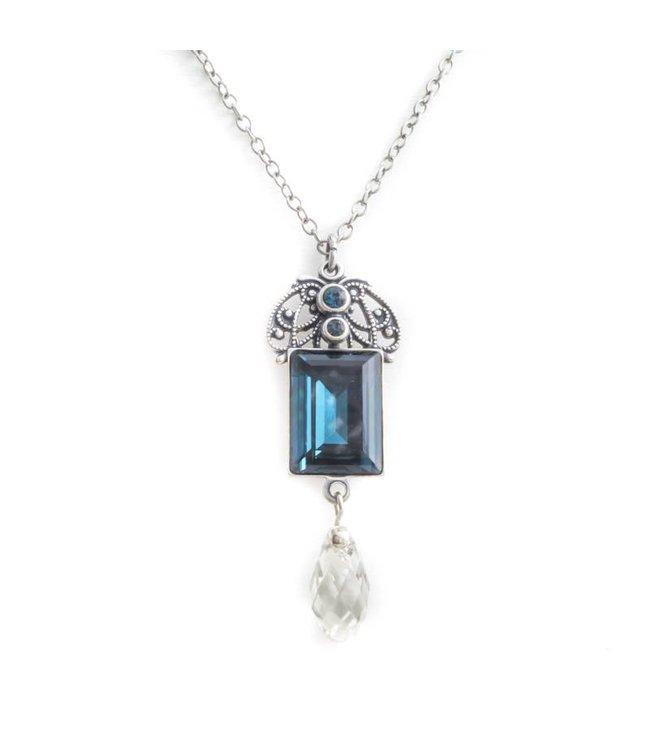 Krikor Montana blauw collier met art nouveau stijl hanger