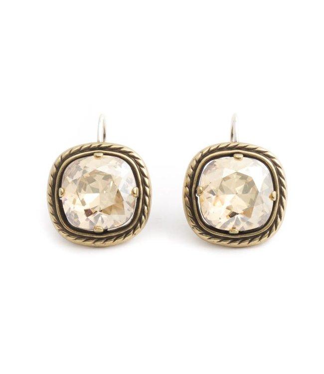 Krikor Vergulde oorbellen met beige Swarovski kristal