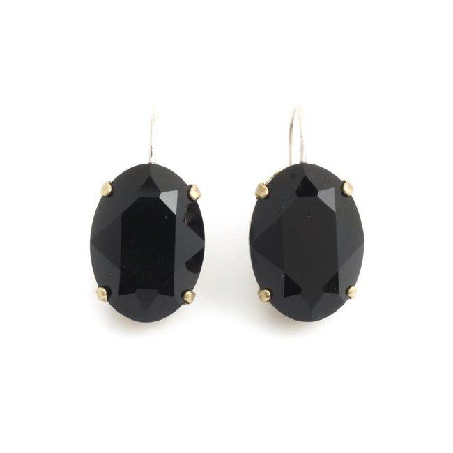 Krikor Kristal oorbellen zwart ovaal