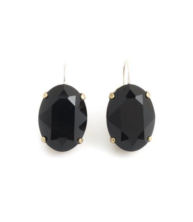 Krikor Ovale oorbellen met zwart Swarovski kristal
