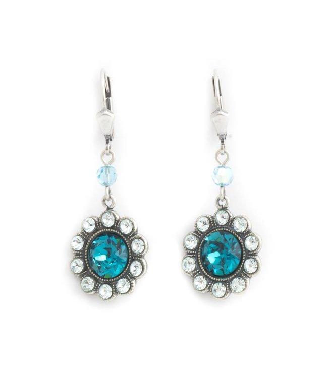 Krikor Bloem oorbellen blauw Swarovski kristal