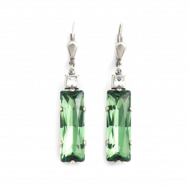Groene oorbellen met kristal