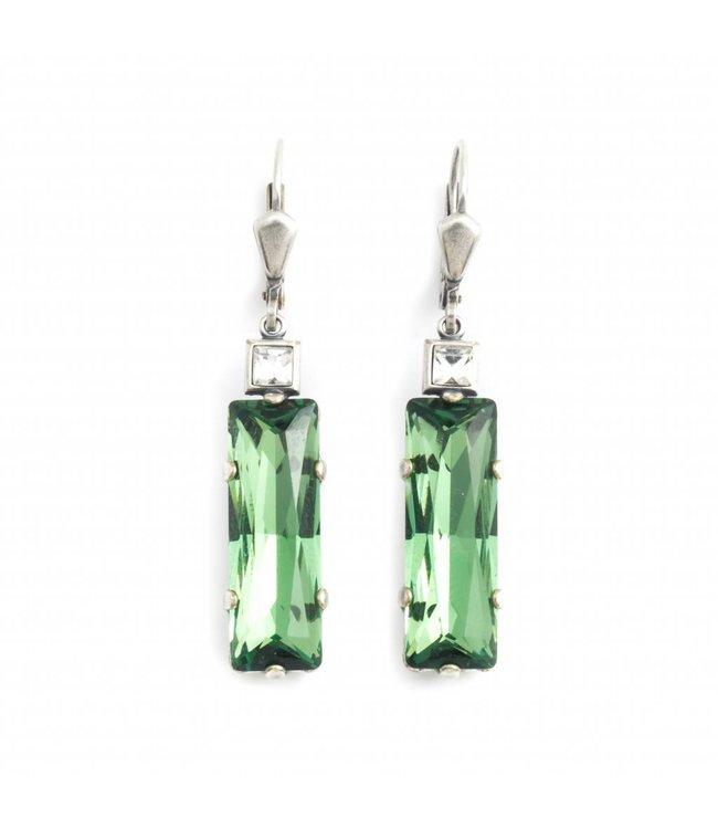 Krikor Groene oorbellen met kristal
