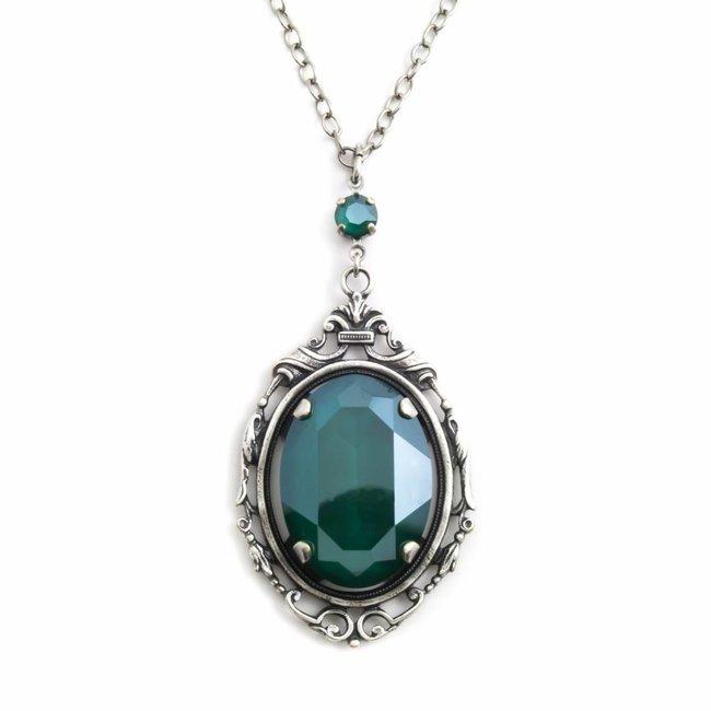 'Royal' groen collier kristal met art nouveau stijl hanger