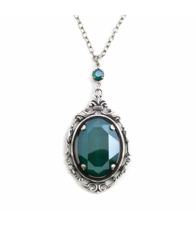 Krikor 'Royal' groen collier kristal met art nouveau stijl hanger