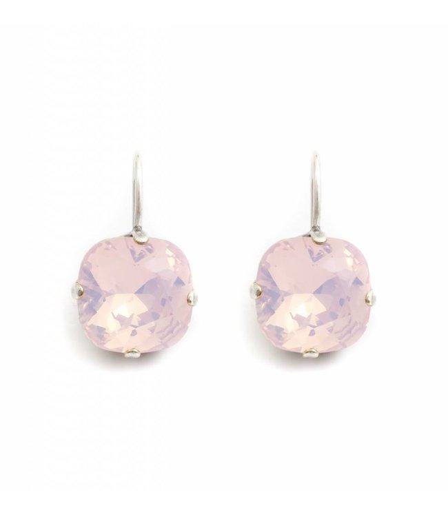 Krikor Vierkante oorbellen met opaal roze Swarovski kristal