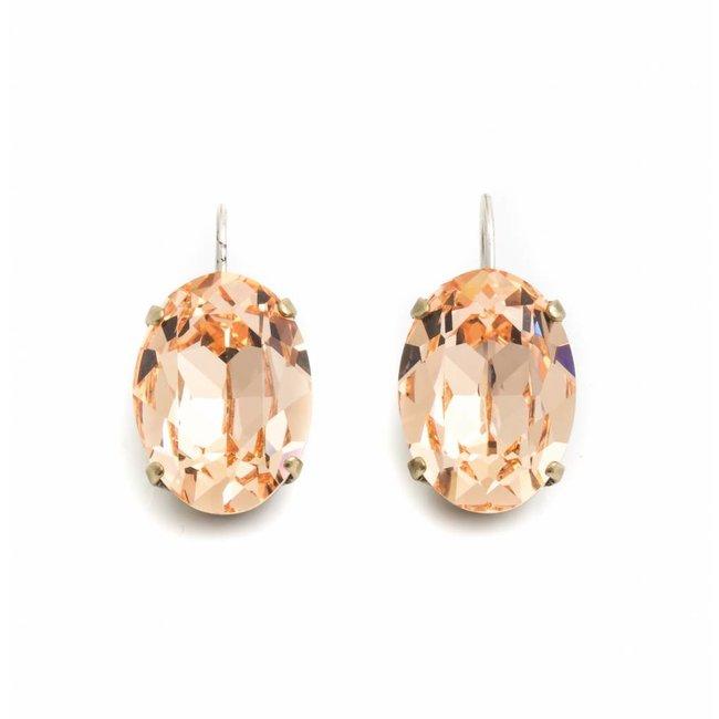 Ovale oorbellen met oranje Swarovski kristal
