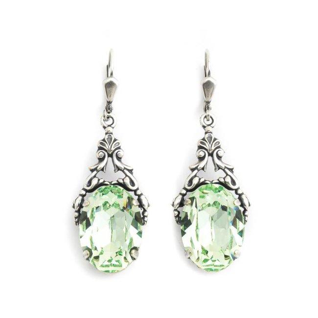 Krikor Ovale oorbellen groen kristal