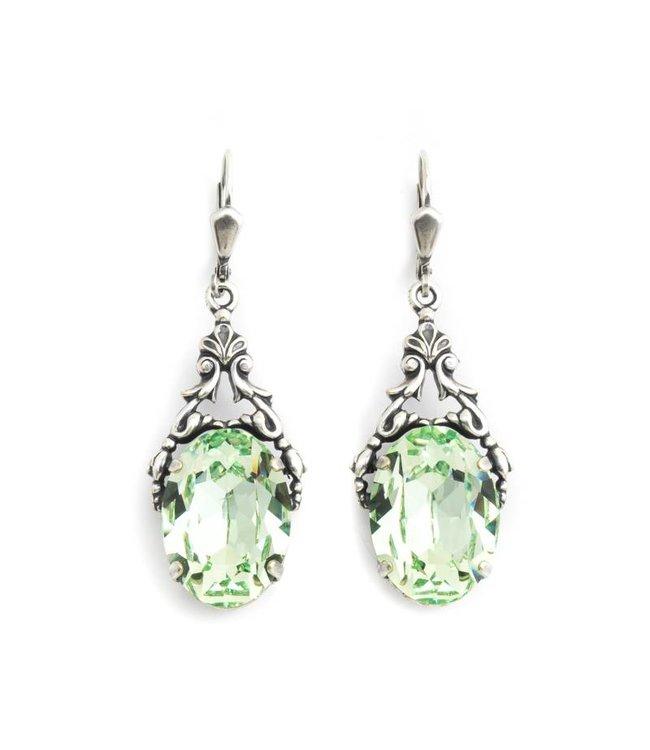 Krikor Ovale oorbellen met groen Swarovski kristal