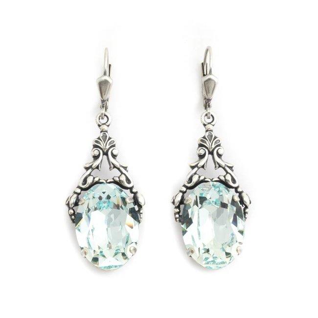 Krikor Ovale oorbellen blauw kristal