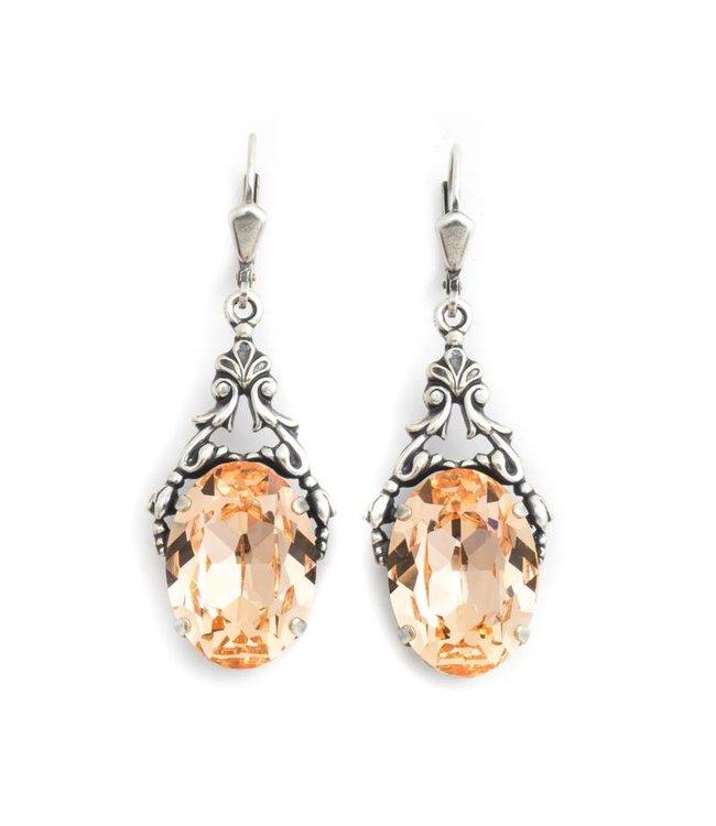 Krikor Ovale oorbellen met oranje Swarovski kristal