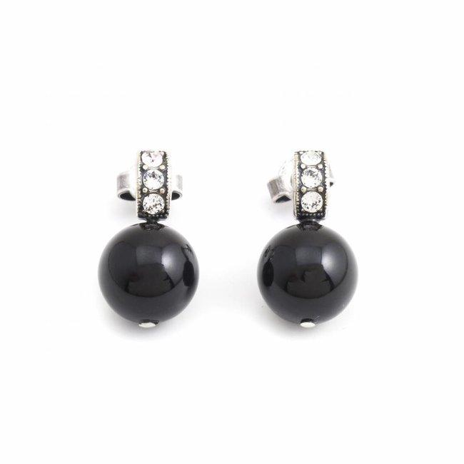 Zwarte oorbellen 10 mm met kristal