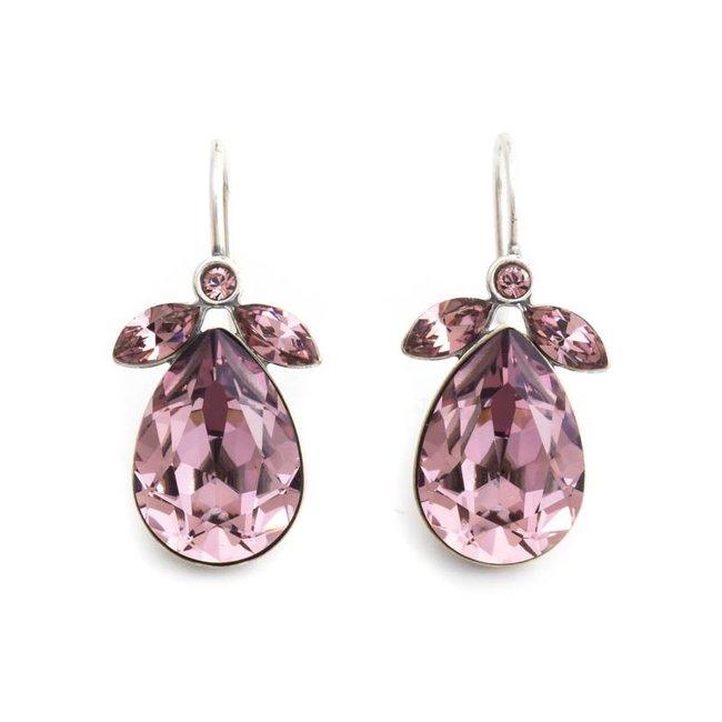 Druppel oorbellen met roze Swarovski kristall