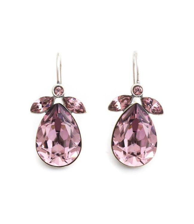 Krikor Druppel oorbellen met roze Swarovski kristall