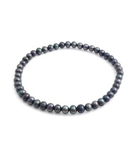 Aurora Patina Blauwe parel armband 4-5 mm