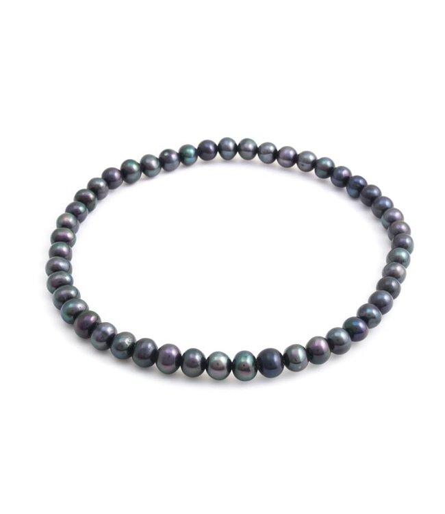 Aurora Patina Blauwe parel armband met zoetwaterparel 4-5