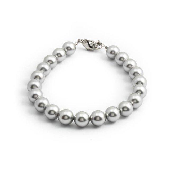 Licht grijze parel armband met 8 mm light grey parels