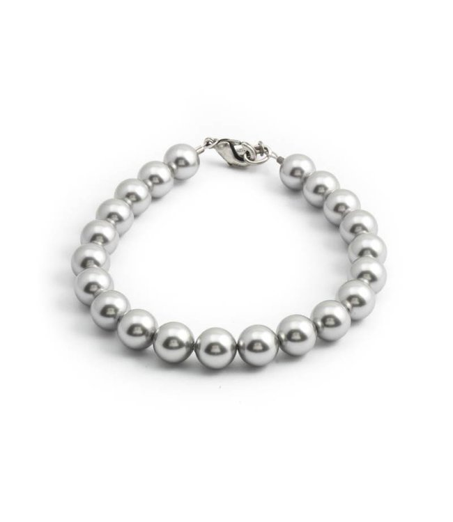Krikor Licht grijze parel armband met 8 mm light grey parels