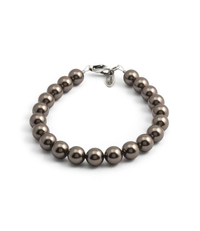 Krikor Parel armband met brown pearl kristal parels van 8 mm