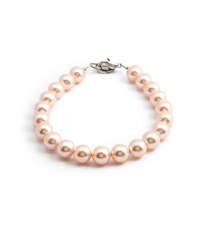 Krikor Perzik roze parel armband met 8 mm light peach parels
