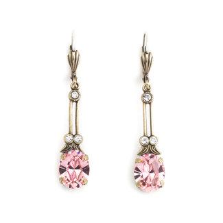 Krikor Lange oorbellen roze kristal
