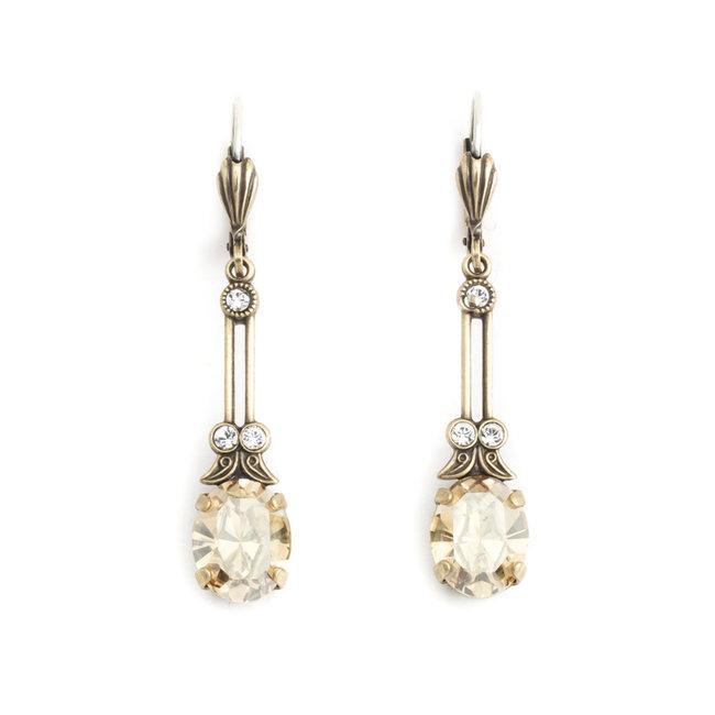 Lange oorbellen met beige kristal