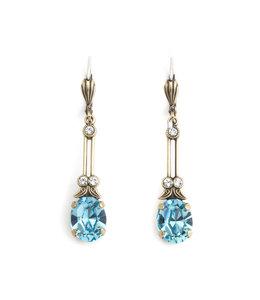 Krikor Lange oorbellen blauw kristal