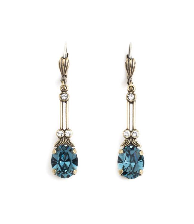 Krikor Lange oorbellen met blauw kristal