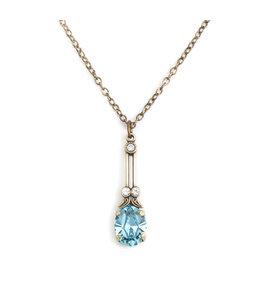 Krikor Halsketting blauw kristal