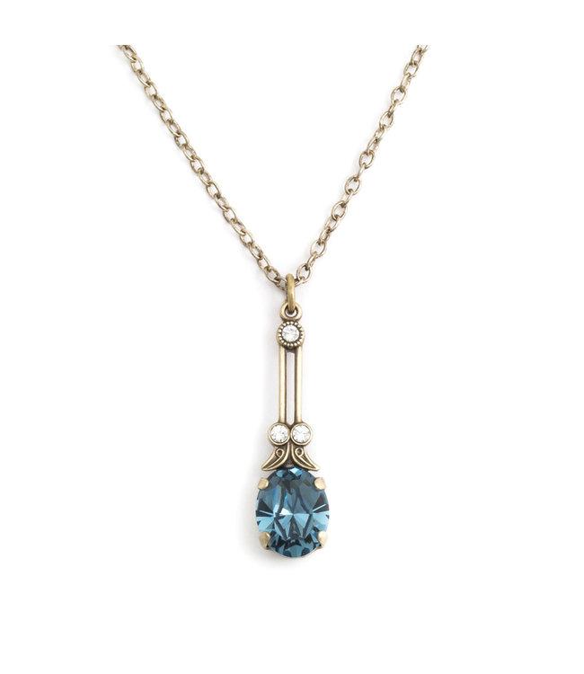 Krikor Halsketting met blauw kristal