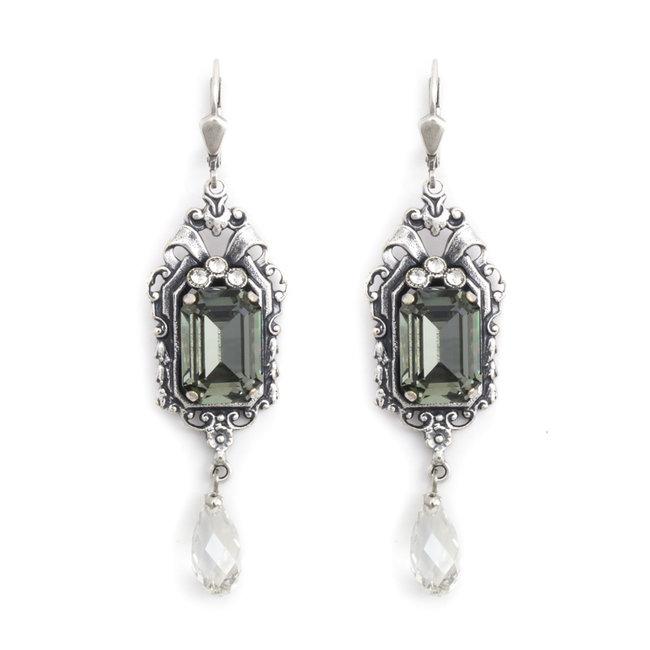 Lange art nouveau stijl oorbellen met kristal