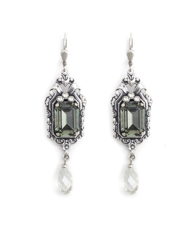 Krikor Lange art nouveau stijl oorbellen met kristal