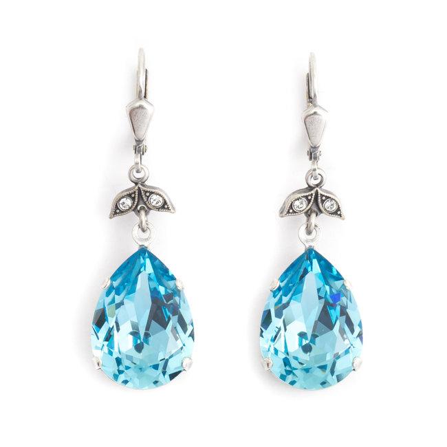 Krikor Druppel oorbellen blauw kristal
