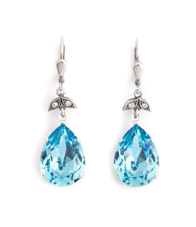 Krikor Druppel oorbellen met blauw Swarovski kristal