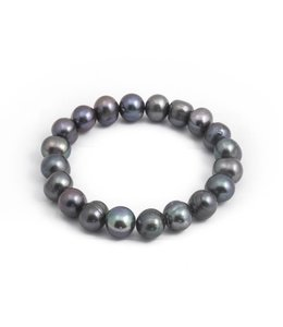 Aurora Patina Blauwe parel armband 10 mm