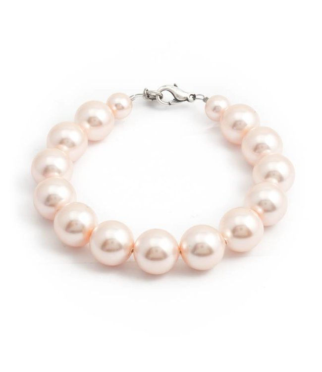 Krikor Perzik roze parel armband met 12 mm light peach parels