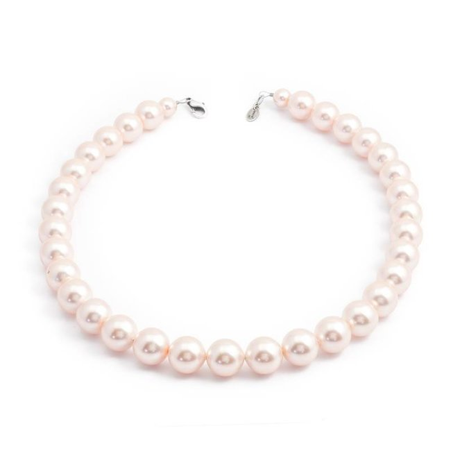 Krikor Perzik roze parel ketting 12 mm