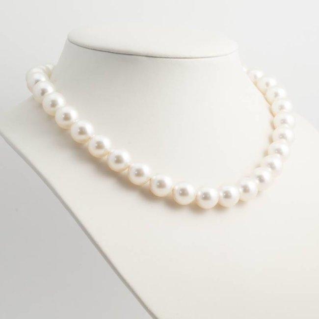 Witte parel ketting met 12 mm cream pearl parels