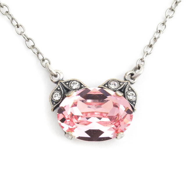 Halsketting met roze kristal