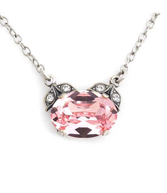Krikor Halsketting met roze kristal