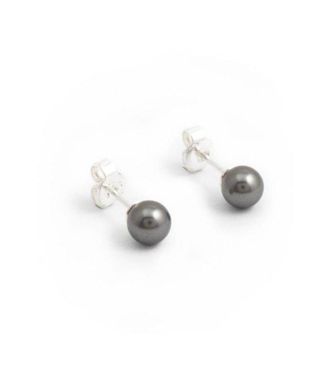 Krikor Grijze parel oorknopjes met 6 mm dark grey pearl