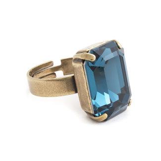 Krikor Blauwe ring kristal rechthoekig
