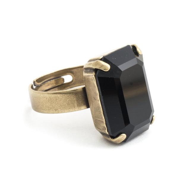Krikor Zwarte ring kristal rechthoekig