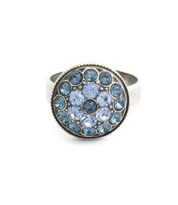 Krikor Blauwe ring kristal bloem
