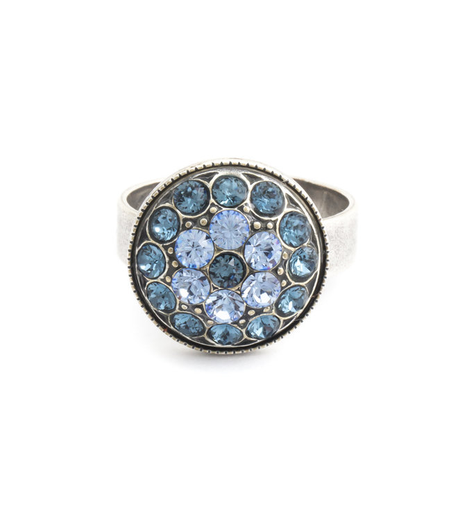 Krikor Blauwe ring met Swarovski kristal bloem