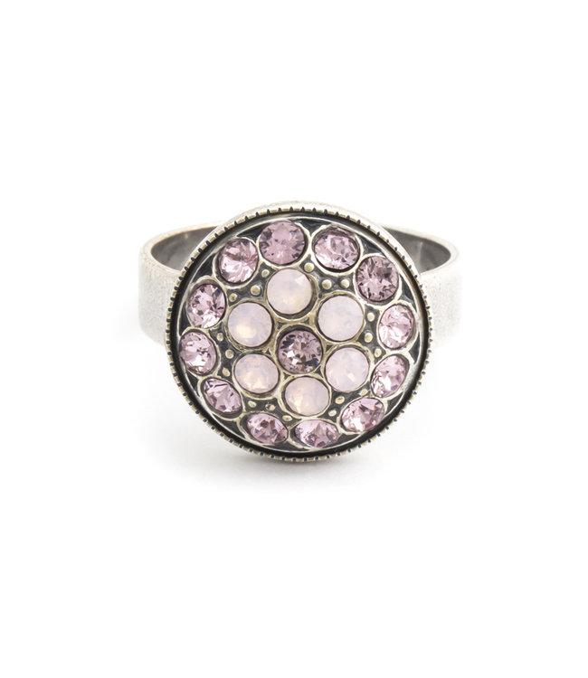 Krikor Roze ring met Swarovski kristal bloem