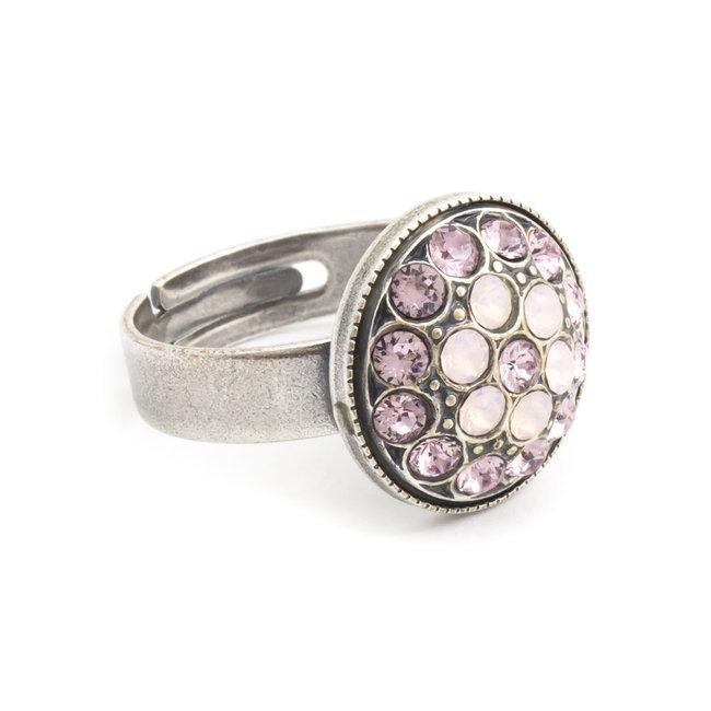 Roze ring met Swarovski kristal bloem