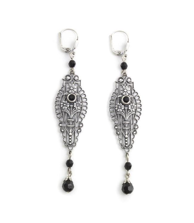 Krikor Lange art nouveau oorbellen met zwart kristal