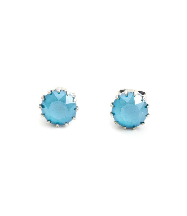 Krikor Verzilverde oorknopjes met 9 mm licht blauw kristal